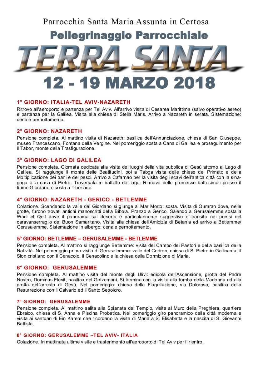 2018 Pellegrinaggio Terra Santa adesione